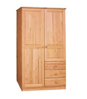 PL REGÁLY Dřevěná skříň dvoudveřová se třemi zásuvkami