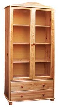 PL REGÁLY Dřevěná vitrína prosklená se dvěma šuplíky