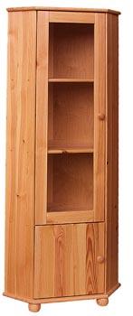 PL REGÁLY Dřevěná vitrína rohová prosklená