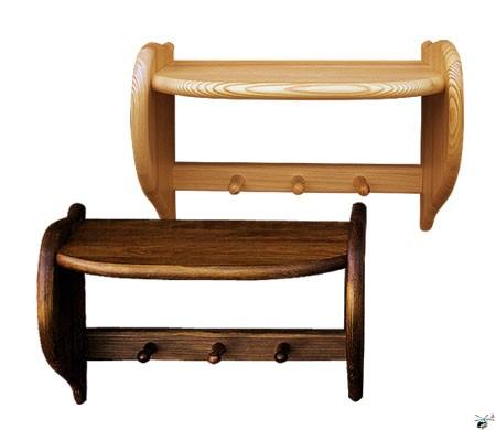DREWMET Dřevěná polička s věšáčky