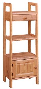 DREWAL Dřevěný regál jednokřídlý s jednou zásuvkou