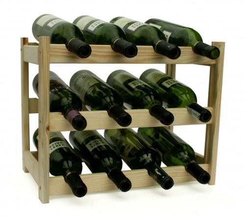 Regál na víno - 12 lahví - BOROVICE
