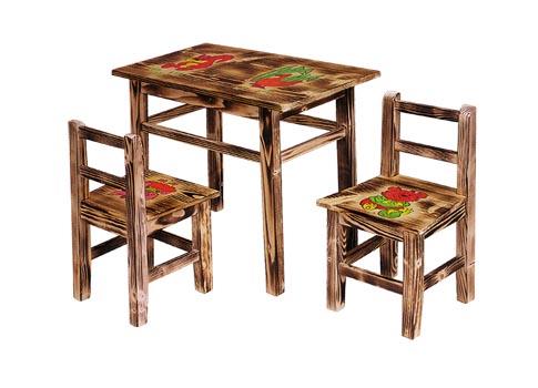 Døevìný stolek s obrázkem
